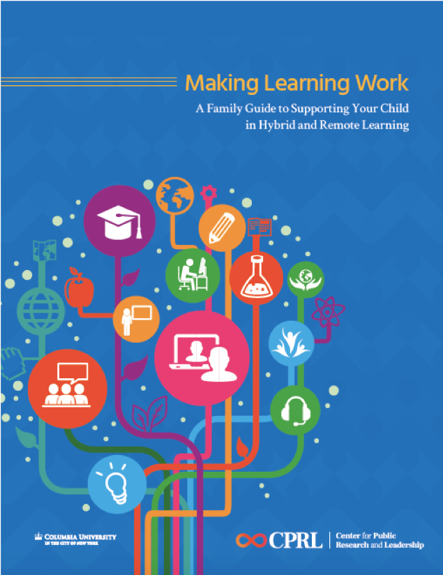 Cover of Making Learning Work Introduction. Blue background with a graphic tree and images related to distance learning such as a laptop and headphones