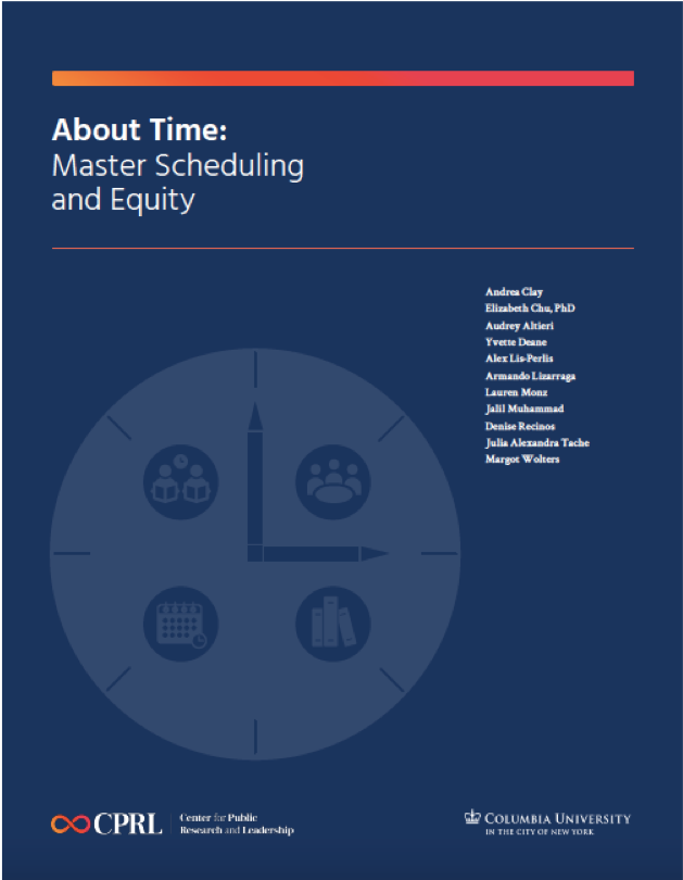 "Cover of the CPRL report ""About Time: Master Scheduling and Equity."" The cover is dark blue with the title and a white image of a clock."