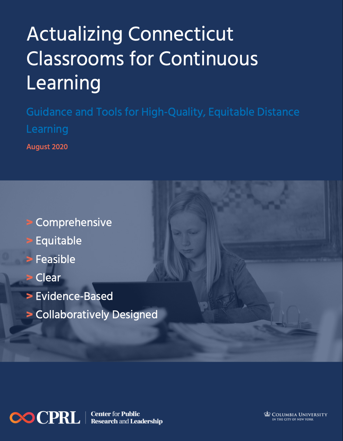 Cover of the Connecticut Guide to Distance Learning, which is navy blue and features a photo of a girl at a laptop