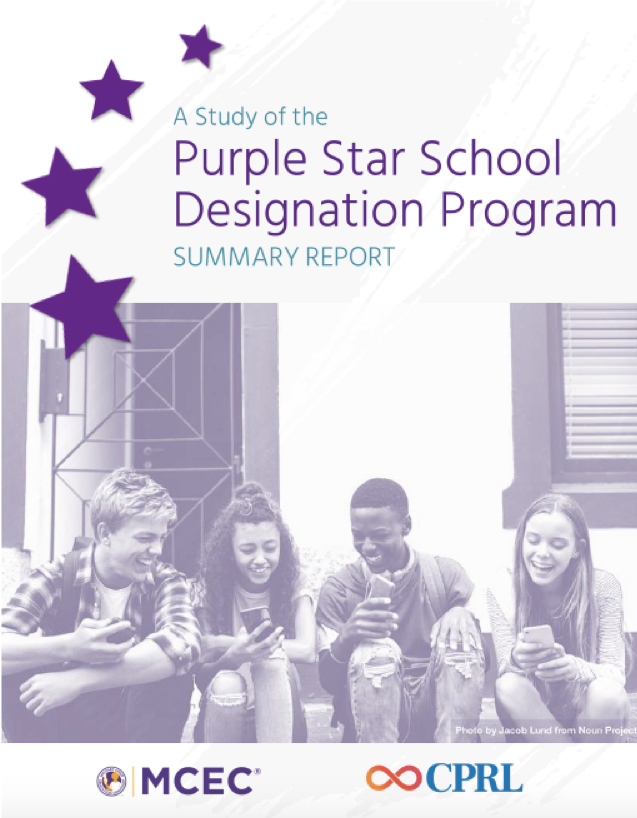 "Cover of CPRL's report on the Purple Star School Designation Program. The cover features the title ""Purple Star School Designation Program"" in purple surrounded by three purple stars and high-school aged students at the bottom of the cover."