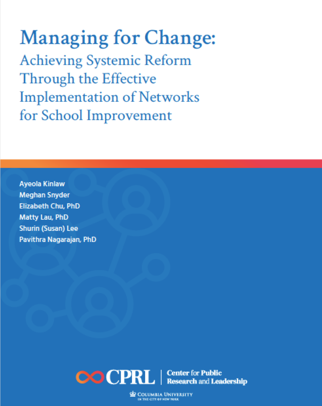 Cover of Gates of report about networks for school improvement with title and authors' names